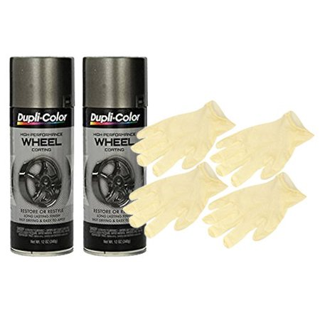 Dupli-Color Graphite High Performance Wheel Paint (12 oz) Bundle with Latex Gloves (6 (Wheel Pants)