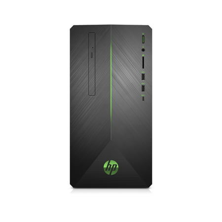 HP Pavilion Gaming Desktop Tower, AMD Ryzen 5 2400G, NVIDIA GeForce GTX 1050 Graphics, 1TB HDD, 8GB SDRAM, DVD, Mouse and Keyboard, Shadow Black with Green LED Lighting, 690-0013w