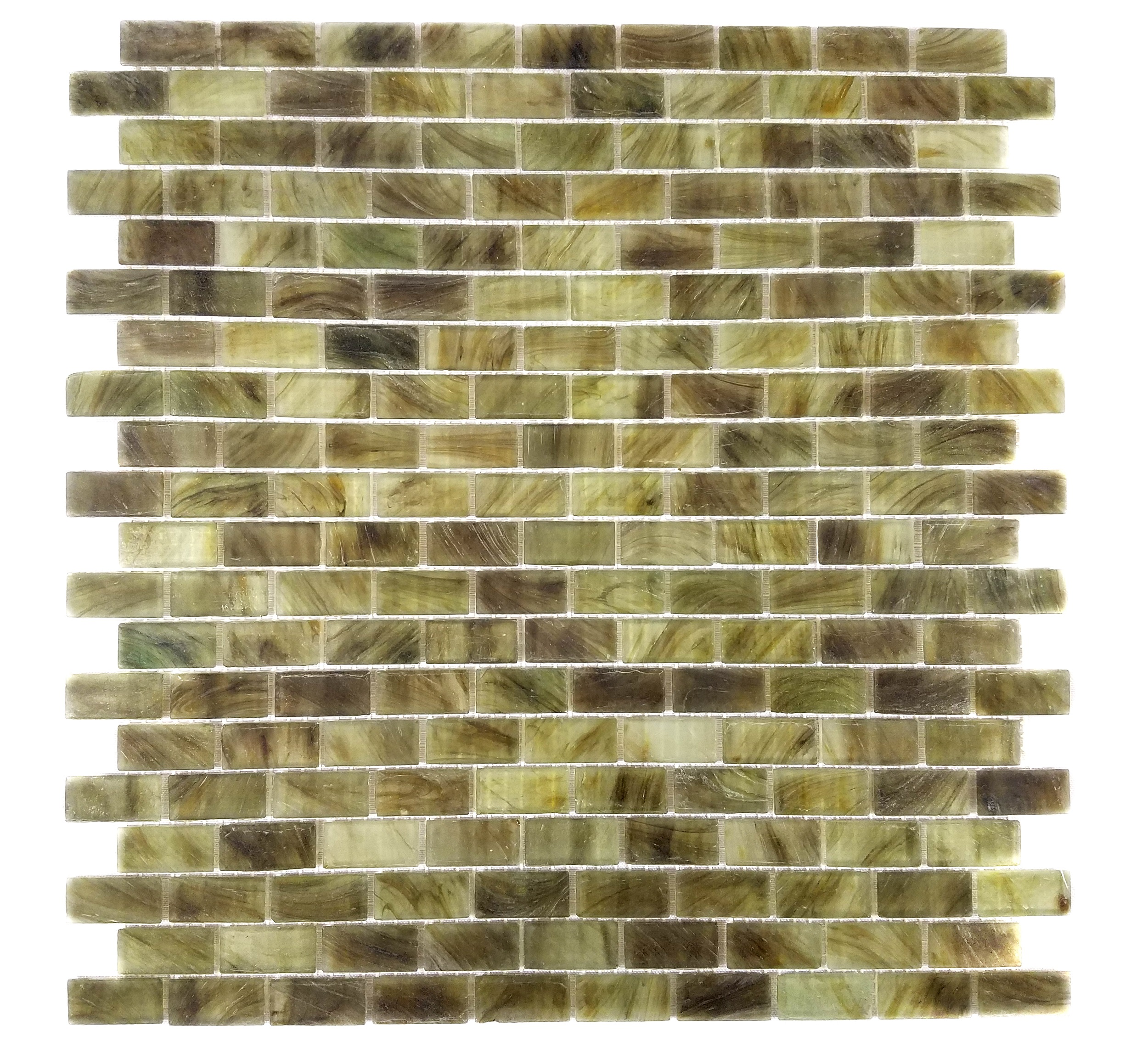 "Abolos- Amber 0.63"" x 1.25"" Glass Mosaic Tile in Brown/Green (1SHEET / 1.12SQFT)"