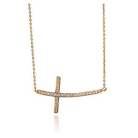 Gold Sideways Curved Crystal Cross Necklace w/ dazzling CZ stones, 18 inch chain and lobster clasp.