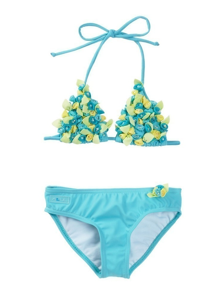 Azul Girls Aqua Rosette Bibbidi Bobbidi Triangle Pc Bikini Swimsuit