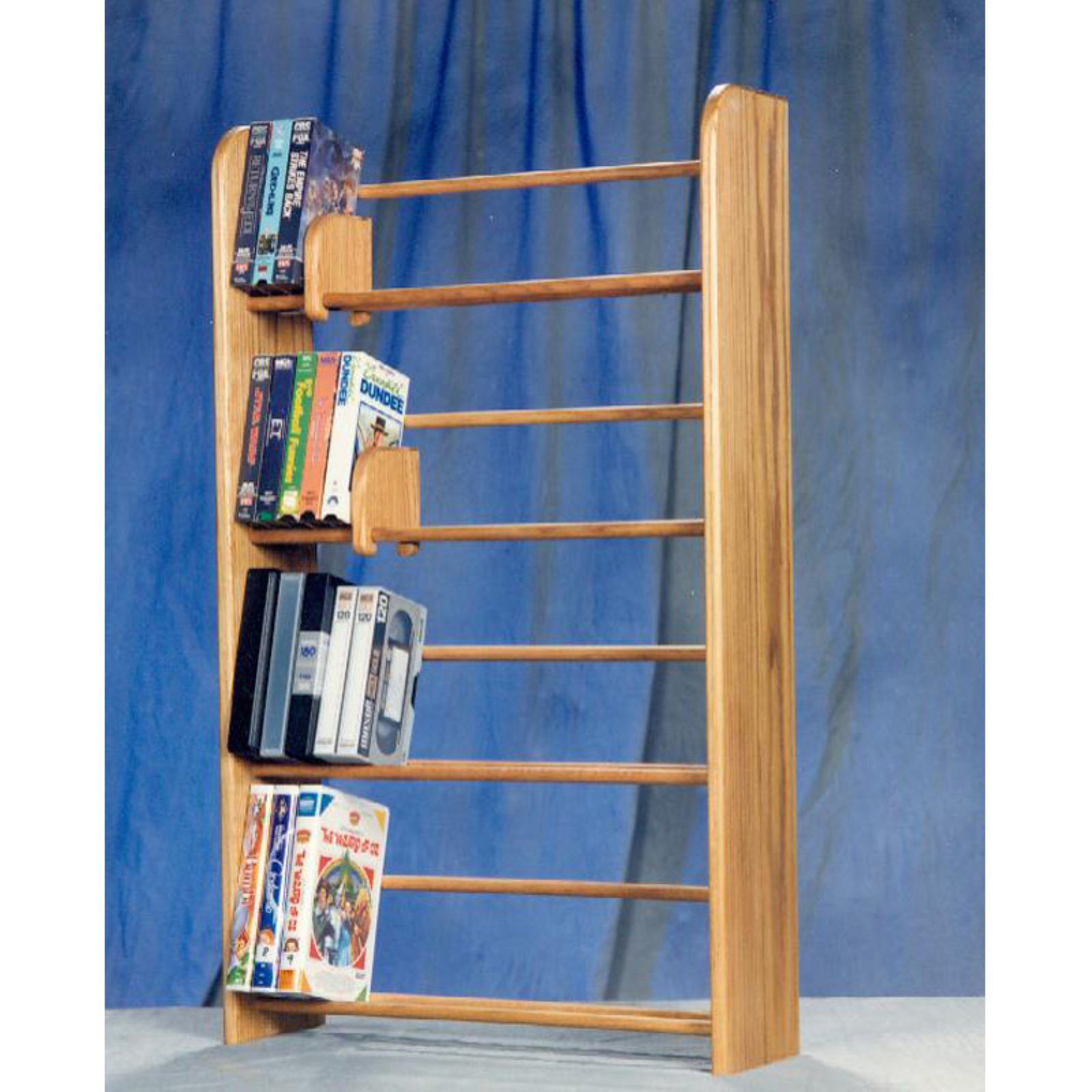 The Wood Shed Solid Oak 4 Row Dowel DVD / VHS Media Rack