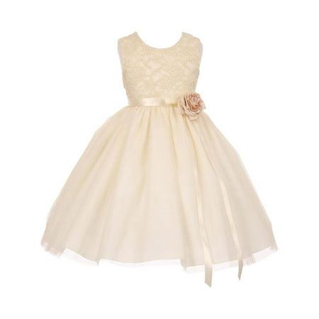 Little Girls Ivory Lace Satin Sash Corsage Tulle Flower Girl Dress - Girls Ivory Dresses