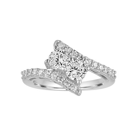 Simulated Diamond Sterling Silver 2-Stone Bypass Ring