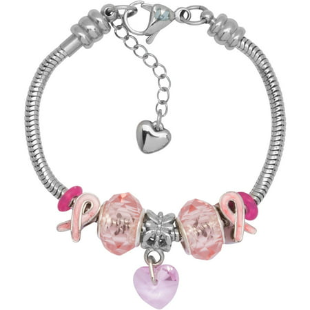Charm Bracelet With Charms For Women  Stainless Steel  Fits Pandora Jewelry  Pink Awareness Ribbon 2016  7 5 Inch  19 Cm