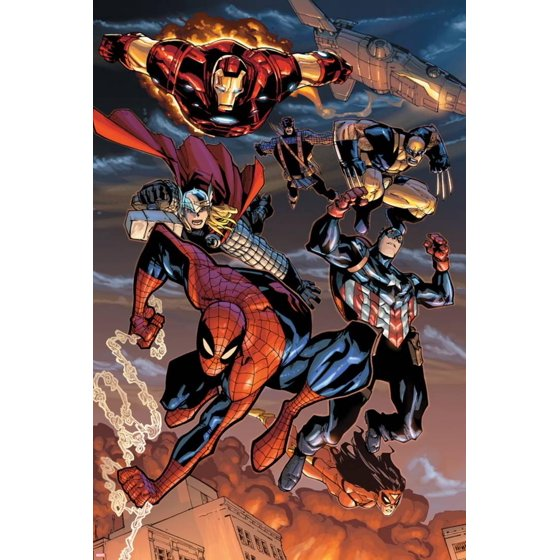 The Amazing Spider Man No 648 Spider Man Captain America Thor Iron Man Wolverine And Hawkeye Print Wall Art By Humberto Ramos