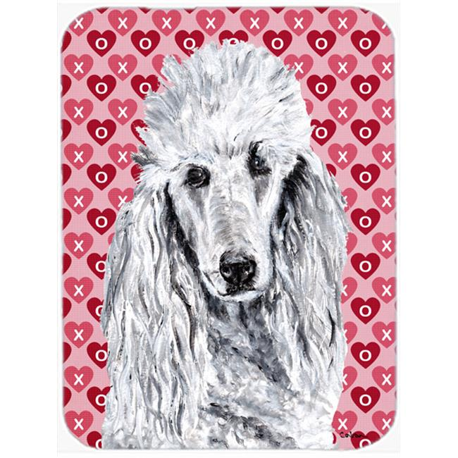 White Standard Poodle Hearts And Love Mouse Pad, Hot Pad Or Trivet, 7.75 x 9.25 In.