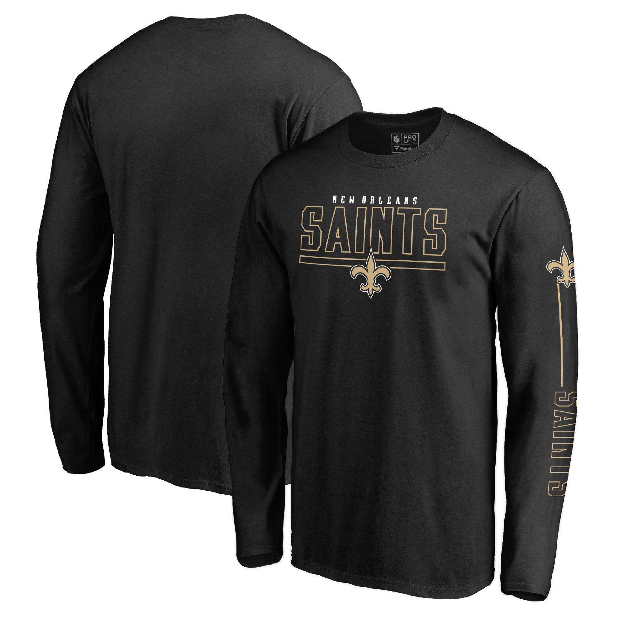 New Orleans Saints NFL Pro Line by Fanatics Branded Front Line Long Sleeve T-Shirt - Black
