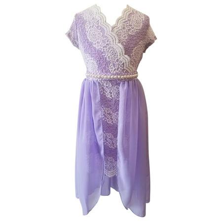 Wedding Dress Cap - Little Girl Cap Sleeve Lace Chiffon Easter Graduation Wedding Flower Girl Dress Lilac 4 JKS 2143 BNY Corner