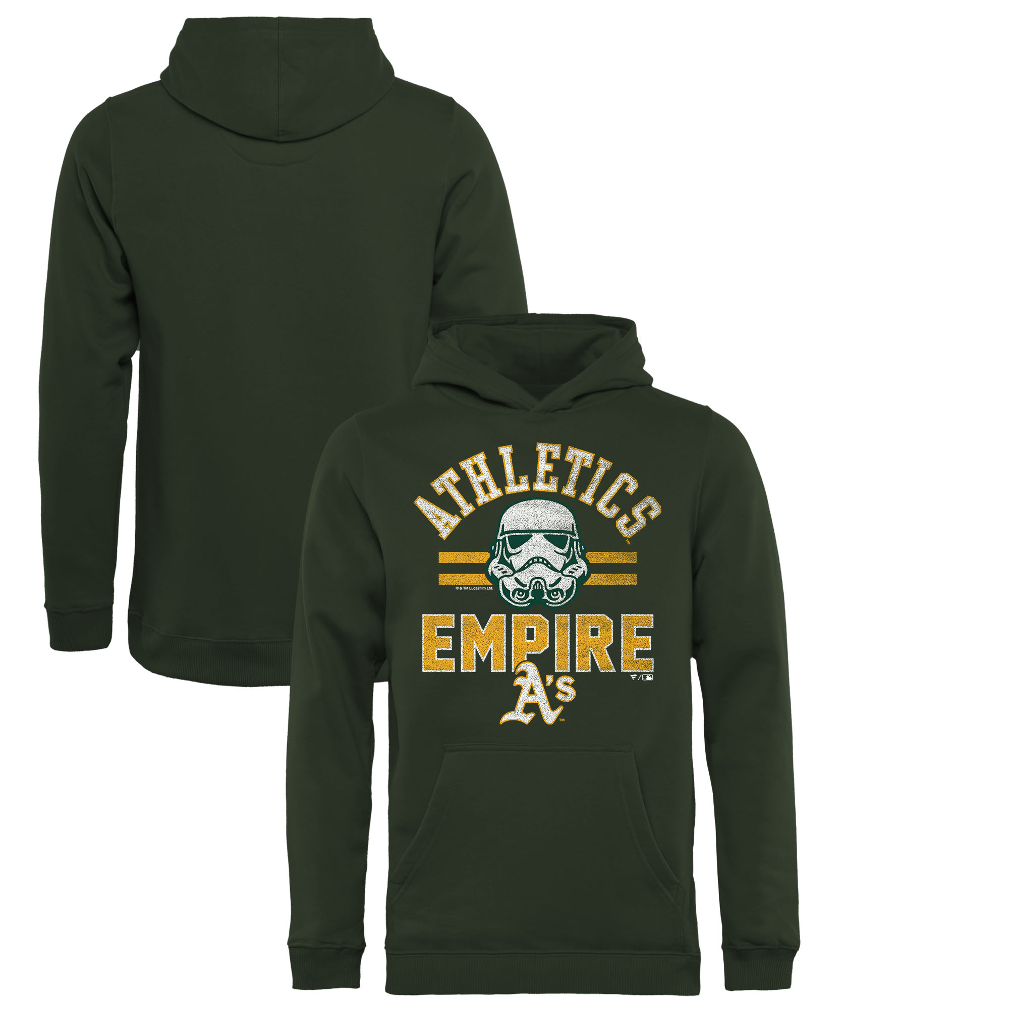 Oakland Athletics Fanatics Branded Youth MLB Star Wars Empire Pullover Hoodie - Green