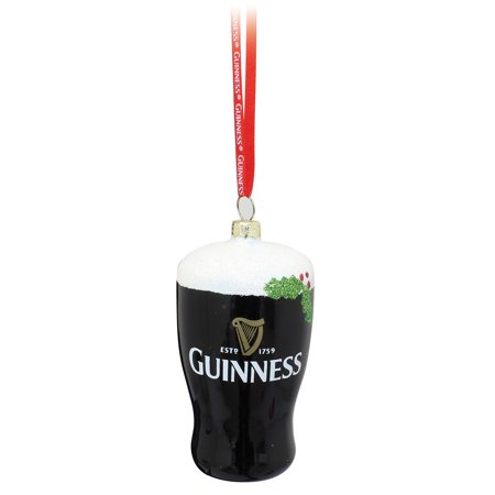 Guinness Christmas Tree Decoration Hanging Glass Ornament - Pint Art Glass Christmas Tree Ornament