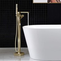 WOODBRIDGE Single Floor Mounted Freestanding Tub Filler with Handshower F-0008