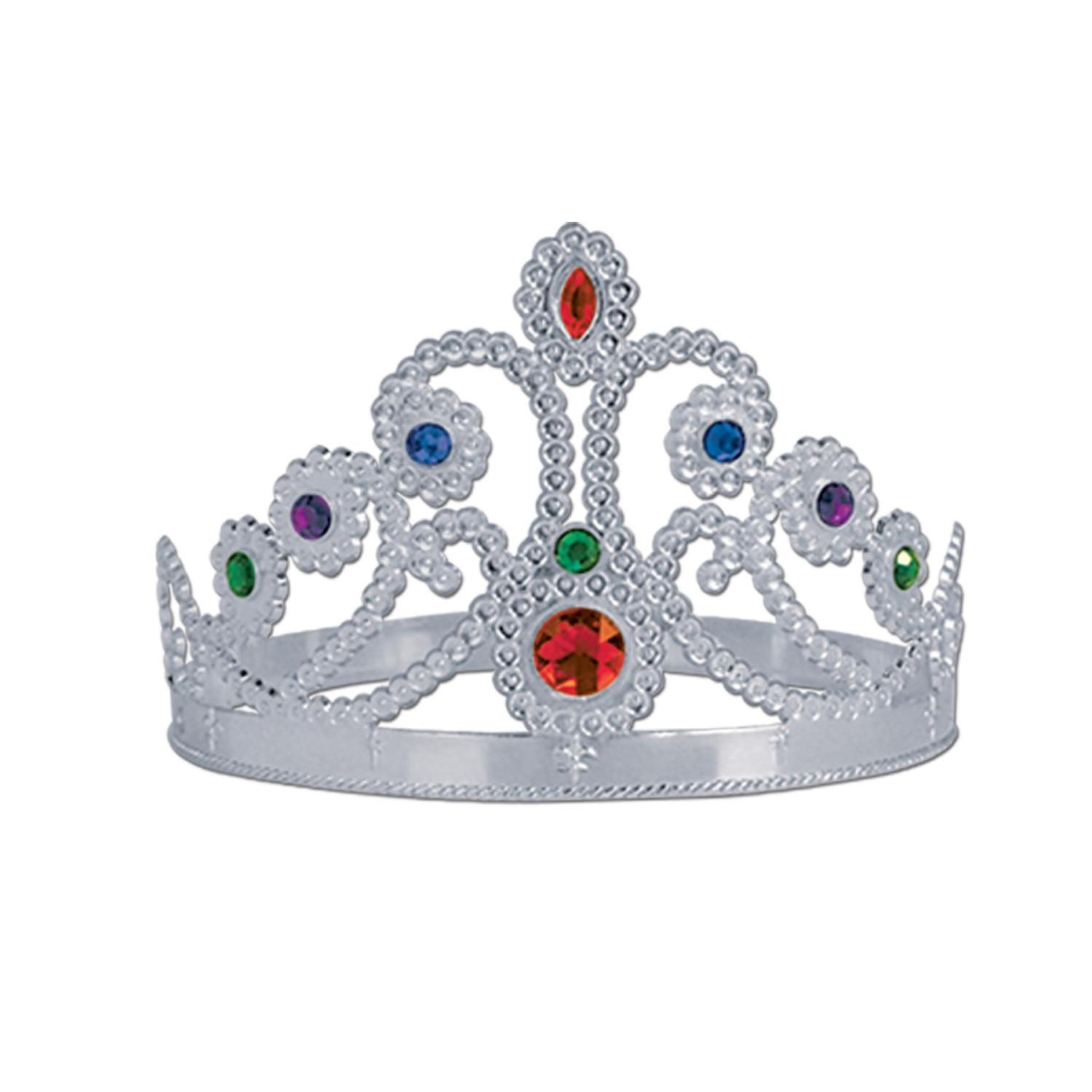 Club Pack of 12 Plastic Jeweled Silver Queen's Tiara Adjustable Party Hat