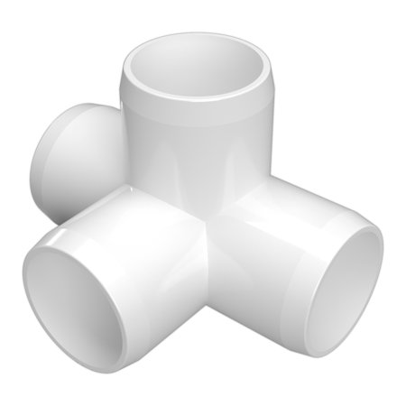 FORMUFIT F0344WT-WH-8 4-Way Tee PVC Fitting, Furniture Grade, 3/4
