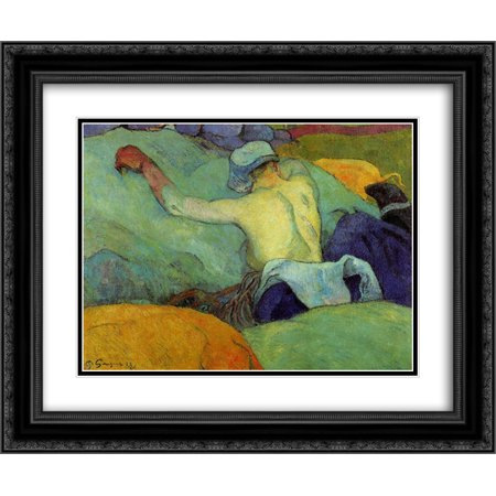 Paul Gauguin 2x Matted 24x20 Black Ornate Framed Art Print 'In the Heat (The Pigs)'