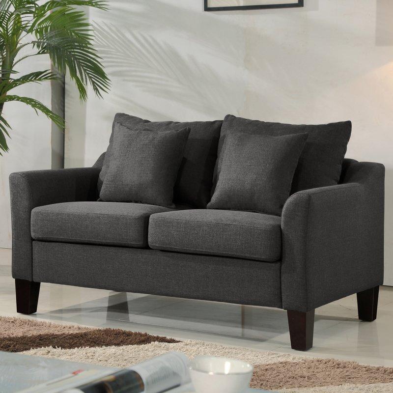 US Pride Furniture Newport Contemporary Linen Fabric Love Seat, Dark Gray