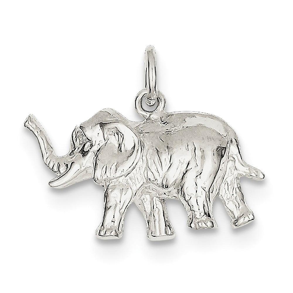 Sterling Silver Elephant Charm (0.6in long x 0.9in wide)