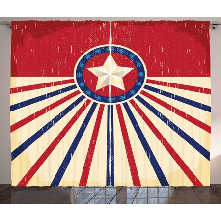 Texas Star Curtains 2 Panels Set, Vintage Stripes and Grunge Liberty and Freedom Themed USA Image, Window Drapes for Living Room Bedroom, 108W X 90L Inches, Vermilion Beige Navy Blue, by Ambesonne