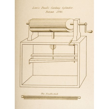 Engraved Design (Drawing Of Lewis Pauls Carding Cylinder Patented 1748 Engraved By JW Lowry In 1830S Canvas Art - Ken Welsh  Design Pics (12 x 16) )