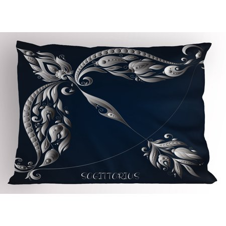 - Zodiac Sagittarius Pillow Sham Hand Drawn Bow Arrow Motif with Leaves Flowers Astrology Sign, Decorative Standard Size Printed Pillowcase, 26 X 20 Inches, Dark Blue and Grey, by Ambesonne