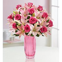 1800Flowers Magnificent Pink Rose and Lily Flower Bouquet with Vase (18 Stems)