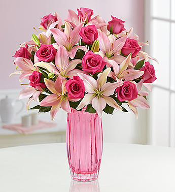 Mother's Day Fresh Flowers - Magnificent Pink Rose & Lily Bouquet with Pink (Love Fresh Flowers)