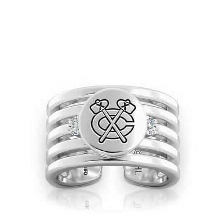 Chicago Blackhawks - Blackhawks Logo Engraved Multiband Cuff Ring