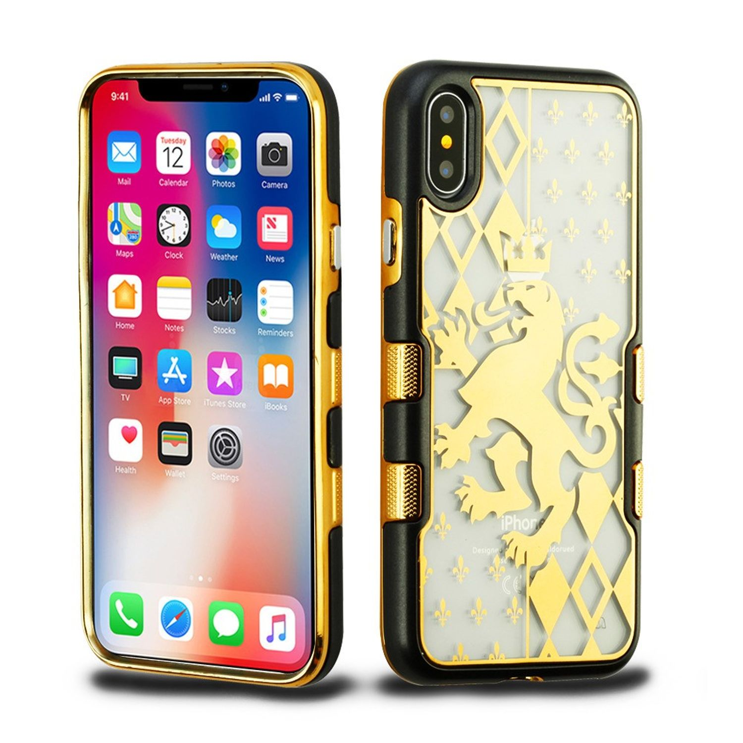 iPhone X XS Case Glitter, iPhone X XS Fashion Case, iPhone X XS Glitter Case, by Insten Quicksand Glitter Roses Dual Layer Hybrid Hard Plastic/Soft TPU Rubber Case Cover For Apple iPhone X XS