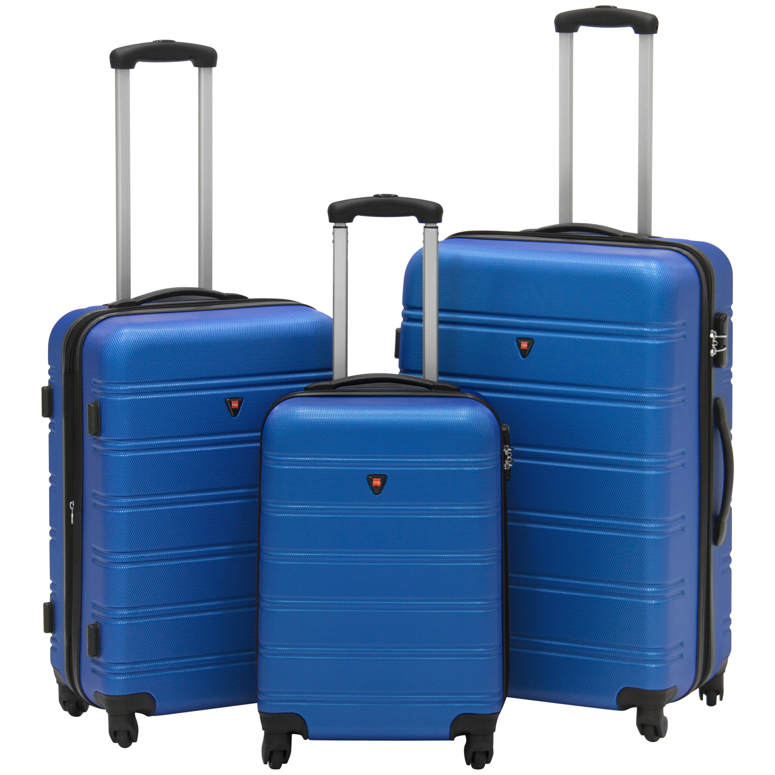 Best Choice Products Hardshell 3 Piece Expandable Spinner Luggage Set - Blue