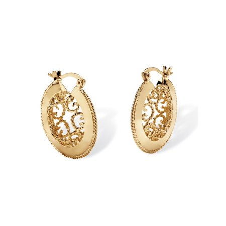 Scroll Cutout Hoop Earrings in Yellow Gold Tone - Open Scroll Design Earrings