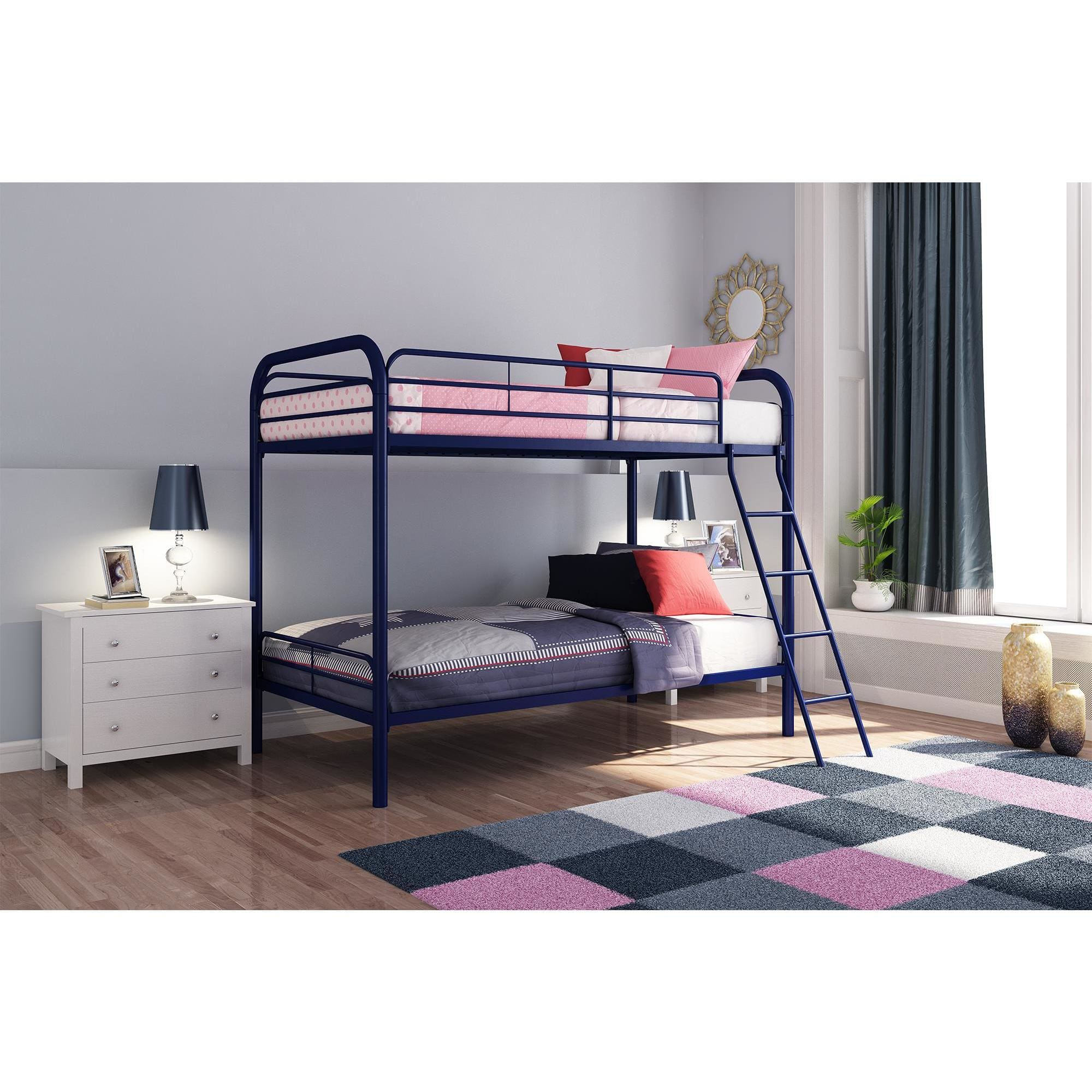 Dhp Twin Over Twin Metal Bunk Bed Frame Multiple Colors Walmart Com