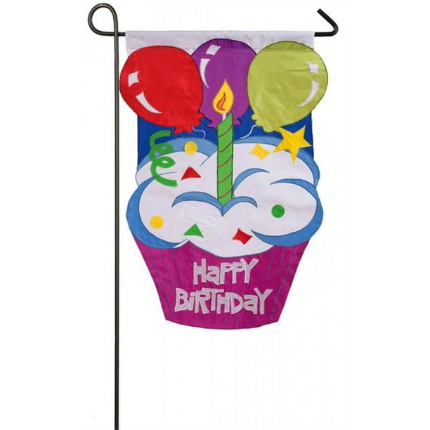 Evergreen Flag Applique Garden Happy, Birthday Garden Flags