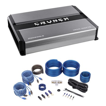crunch pd1400 4 1400w 4-channel pro power car audio amplifier class ab+amp  kit - walmart com