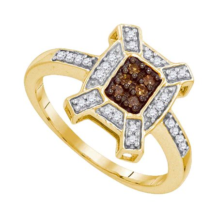 10kt Yellow Gold Womens Round Cognac-brown Colored Diamond Square Ring 1/5 Cttw
