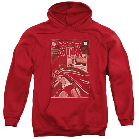 BATMAN/DOA COVER-ADULT PULL-OVER HOODIE-RED-3X