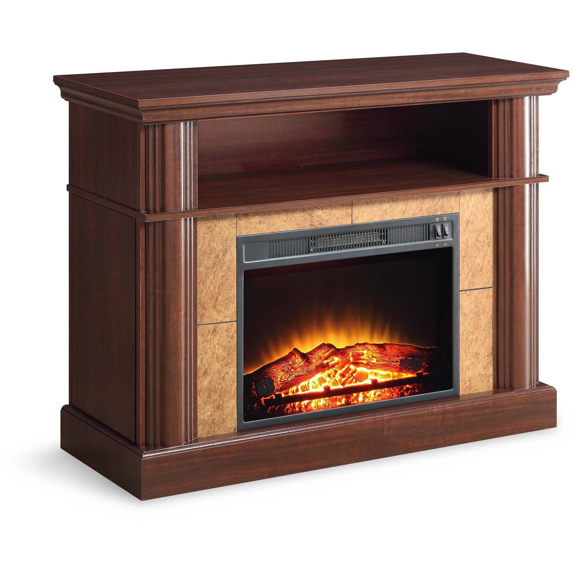 Better homes and fireplace media cherry gardens for tvs up to 54 for Better homes and gardens fireplace tv stand