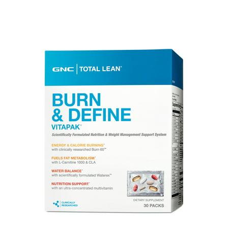 GNC Total Lean Burn and Define Vitapak, 30 Packs (Ripped In 30 Calories Burned Week 1)