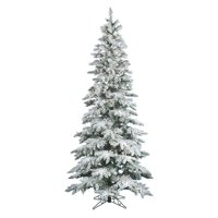 "Pre-Lit 6.5' x 39"" Slim Utica LED Artificial Christmas Tree, Flocked White on Green, White Lights"