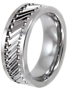 Men's Tungsten 8MM Gear Pattern Wedding Band - Mens Ring