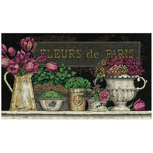 "Dimensions ""Fleurs De Paris"" Counted Cross Stitch Kit, 14"" x 8"""