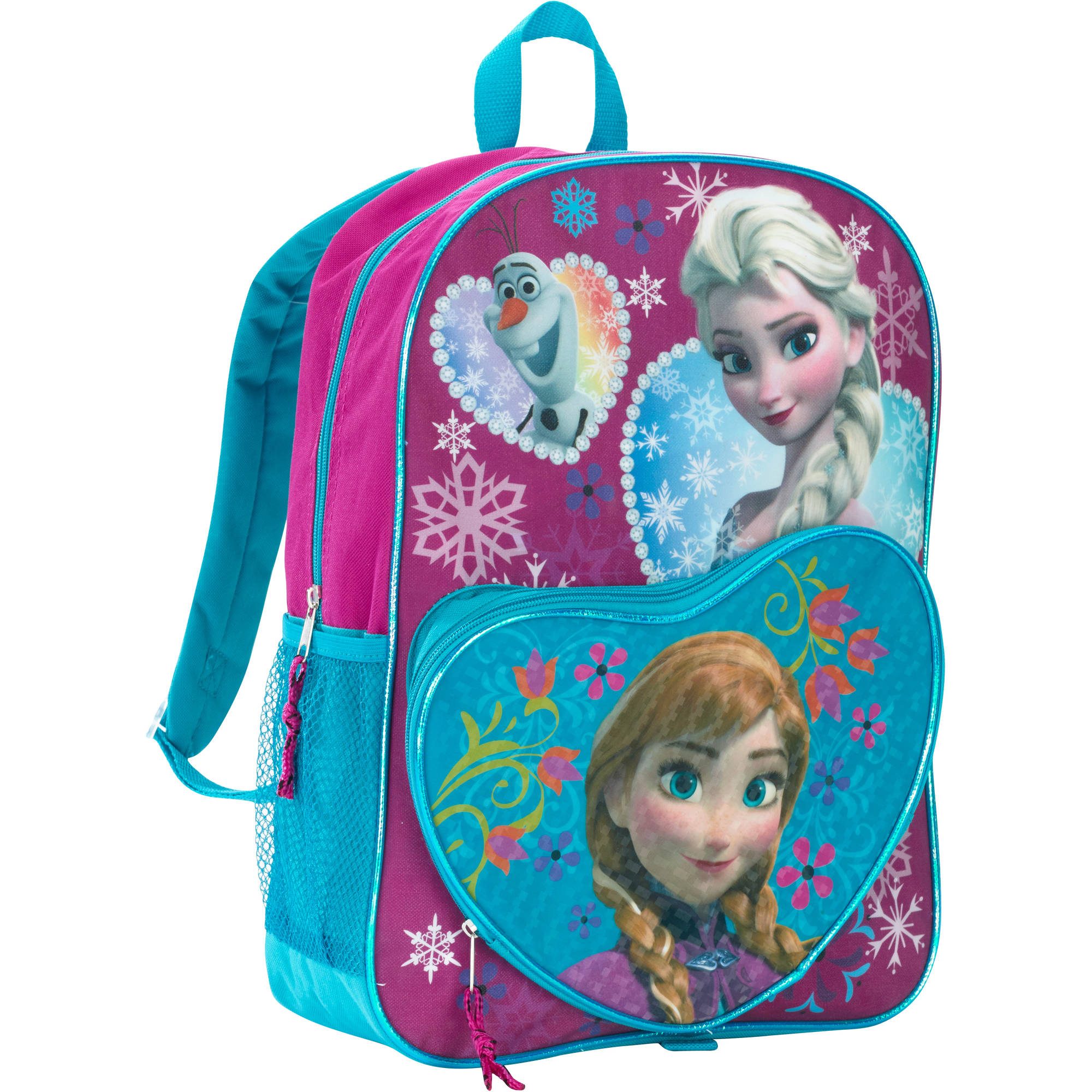 Disney Frozen 16 Inch Deluxe Heart Shaped Pocket Kids Backpack