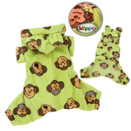 Adorable Silly Monkey Fleece Dog Pajamas & Bodysuit With Hood, Lime - Small