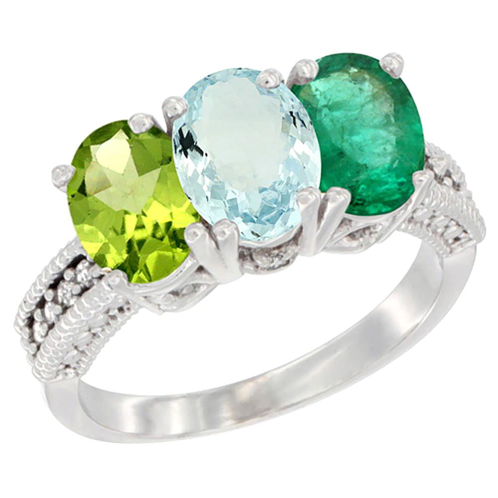 10K White Gold Natural Peridot, Aquamarine & Emerald Ring 3-Stone Oval 7x5 mm Diamond Accent, sizes 5 10 by WorldJewels