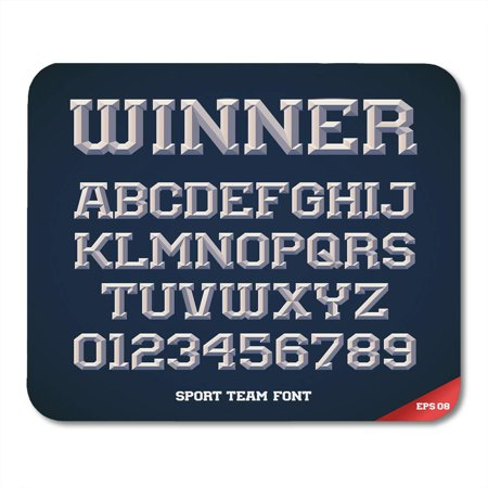 LADDKE Basketball Classic Style Sport Team Slab Serif Metallic Beveled Alphabet and Numbers Upper Letter Mousepad Mouse Pad Mouse Mat 9x10 inch (Classic Type Alphabet)