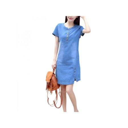 Lavaport Summer Women Pocket Denim Dress Short Sleeve Mini Dress Dolls Denim Dress