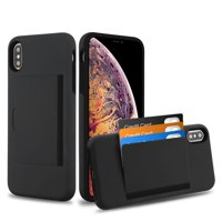 """Kaleidio Case For Apple iPhone XS Max (6.5"""") [Sleek Poket] 2-Piece Dual Layer [Shockproof] Card Slot Hybrid Armor Cover w/ Overbrawn Prying Tool [Black/Black]"""