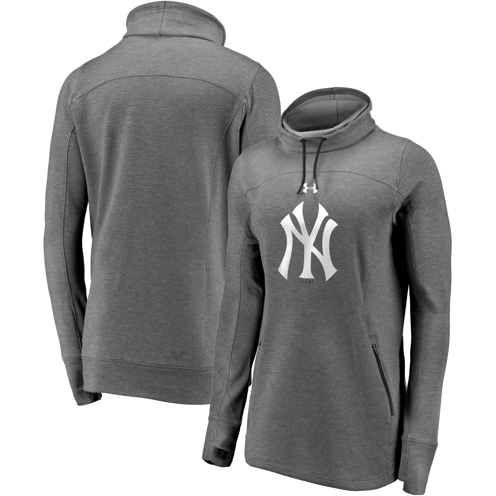 New York Yankees Under Armour Women's Team Mark Performance Tri-Blend Pullover Sweatshirt - Heathered Charcoal