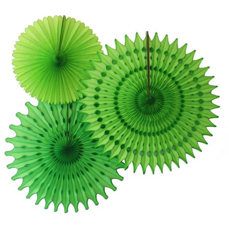 21 Party Decorations (Hanging Lime Green Tissue Fan Decorations, Set of 3 (21 inch, 18 inch, 13 inch) by Devra)