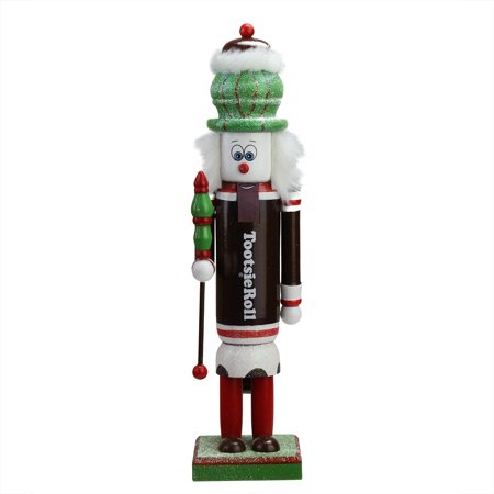 """14"""" Decorative Brown, Red and White TootsieRoll Wooden Christmas Nutcracker Figure"""