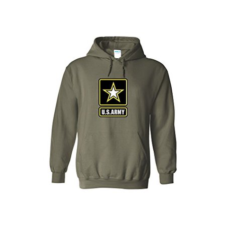 Army Logo Hooded Sweatshirt - US Army Emblem Logo PT Hoodie United States Army Hooded Sweatshirt (Medium, Green)